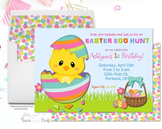 Easter Party Invitation, Easter Birthday Invitation, Easter Egg Hunt Invite, Girls Birthday Invitation, Easter Luncheon, Easter Brunch