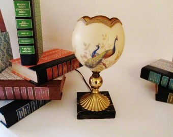 Vintage Peacock Lamp, Chinoiserie Lamp, Hollywood Regency, Powder Room Decor, Mantel Decor, Accent Lamp, Boho Chic