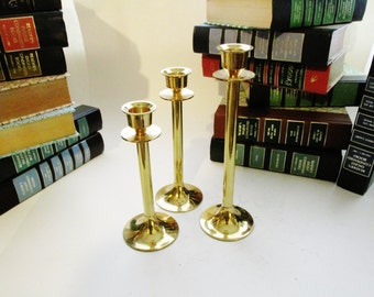 Vintage Brass Candlesticks, Set of Three Brass Candleholders, Graduated Candlesticks