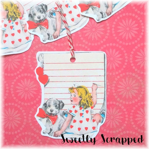 8 Little Girl Valentine's Day Tags, Puppy, Letter, Stationery, Gift Tag, Packaging, Valentine, Packaging, Goodie Bag, Goody, Treat