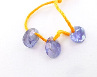 Iolite Beads. Natural Purple Blue Gemstone Iolite Drilled Cabochon Focal Beads. 3 pc. Approx. 7x10 mm (IO426)