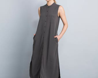 Long maxi sundress, sleeveless summer dress, gray buttoned down day dress, loose fit boho dress, casual beach dress, side pockets, day dress