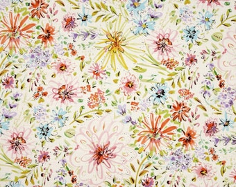 Watercolor Bedding, Floral Baby Bedding, Sheet, Changing Pad Cover, Floral Girl Nursery, Pastel Nursery Bedding