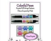 ON SALE Bead Pattern Peyote(Pen Wrap/Cover)-Colorful Paws