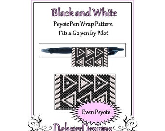 Peyote Beading Pattern (Pen Wrap/Cover)-Black and White