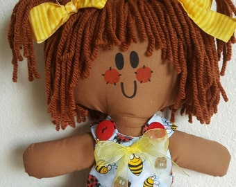LillieGiggles Brown Baby Rag doll named Lady B B says Ladybugs and Bumblebees are good luck