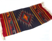 RESERVED: Vintage Woven Southwestern Rug 2 … Navy, Red, Yellow Mexican Textile, Small Throw Rug, Wall Hanging Boho Textile, Central American