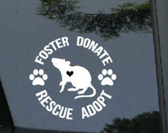 Rescue Decal, foster, donate, animal rescue, pet, rat, rodent, adopt, rescue, pet adoption