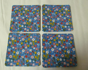 Set Of Fabric Coasters/Pretty Flowers On Blue