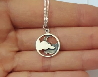 Sterling Silver Moon and Cloud Necklace, Personalized Jewelry, Initial Necklace, Girl's Gift, Birthday Gift