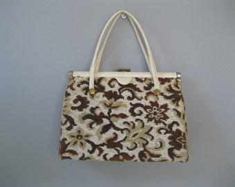 Vintage Tapestry Purse - 60s Verdi Handbag - Vegan Top Handle Bag