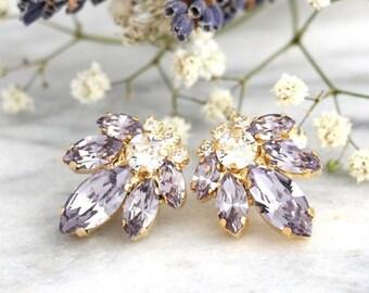 Lilac Gray Earrings, Bridal Cluster Earrings, Light Purple Earrings, Swarovski Wedding Earrings, Crystal Stud Earrings, Bridesmaids Earrings