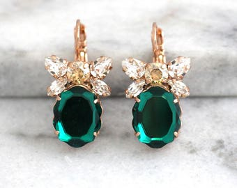 Emerald Earrings, Bridal Drop Earrings, Swarovski Dangle Earrings, Green Crystal Earrings, Bridesmaids Earrings, Gift For Her, Emerald Drops