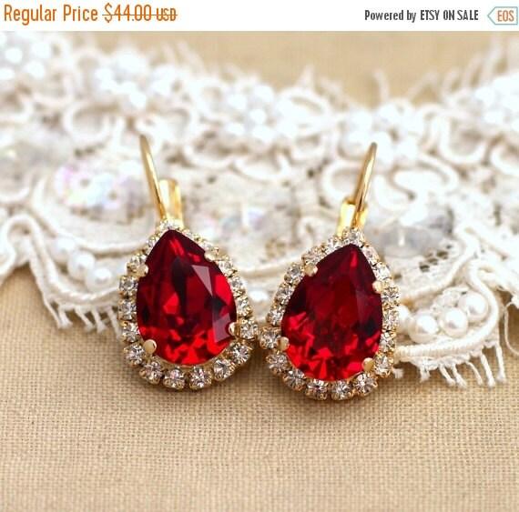 Ruby Earrings,Ruby Swarovski Drop Earrings,Ruby Drop Earrings,Ruby Crystal Dangle Earrings,Red Ruby Swarovski Earrings,Gift for her