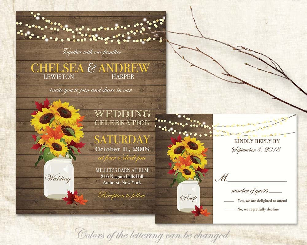 Cheap Rustic Wedding Invitations: Rustic Fall Wedding Invitations Suite Fall Leaves Sunflowers