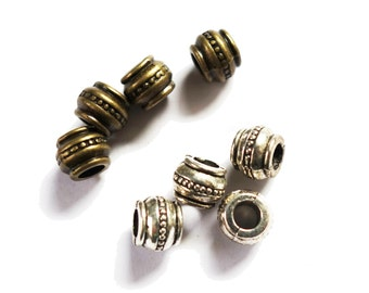 4 Silver or bronze dotted dreadlock european dread beads