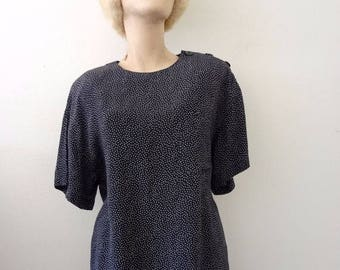 ON SALE 1980s Polka Dot Blouse - boxy black rayon shirt with shoulder buttons - retro vintage