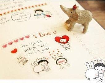 6 Sheets Korea Pretty Sticker Set - Deco Translucent Sticker Set- Everyday Happy