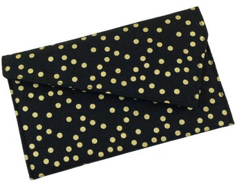 Black and Gold Dots Envelope Clutch New Years Eve Party Clutch Holiday Purse Bridesmaid Gift
