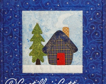 Winter Cabin and Tree Wall Quilt, 4903-1, cabin wall hanging, winter wall quilt