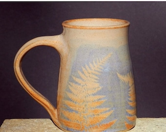Blue Fern Mug StonewareXL Big Handmade Microwave Friendly Coffee Tea Bar Ware Home&Living Ceramic Woodland Art