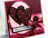 """Valentine's Day Card - Handmade Greeting Card - 3D Card - 5.25 x 5.25"""" Happy Valentine's Day - Stampin Up -  Heart Pink Love OOAK"""