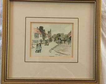A sweet, vintage, framed pen and ink drawing of Biddenden, Kent. Signed and dated.