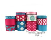24 Yds WAVY FLOWERS in Pinks and Turquoise wholesale grosgrain ribbon collection Low Shipping Cost