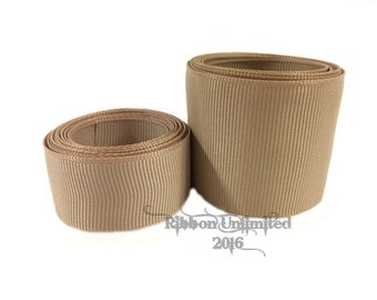 10 Yards WHOLESALE Solid Tan grosgrain ribbon LOW SHIPPING Cost