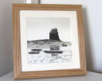 Black Nab 2 landscape drawing , seascape, charcoal drawing, pencil drawing, black and white, coast art, original art, Yorkshire coast, UK