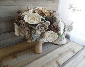 """Ready to Ship ~~~ Large Rustic Bridal Sola Flower and Pine Cone Bouquet, 10"""" wide with jute wrapped handle."""