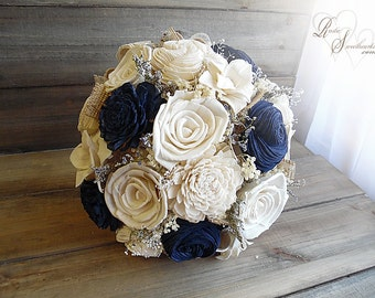 Ships in 4 weeks ~~~ Rustic Navy Blue Wedding Bouquet, Sola Flowers, Burlap, Lace. Available in small, medium or large.