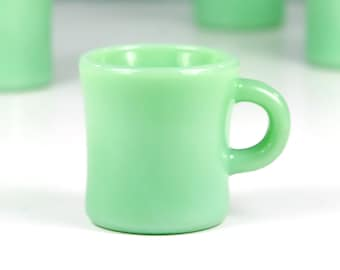 Fire King Jadeite Mug, with small crack, C Handle G212 Thick Walled, Jadite Restaurant Ware, Anchor Hocking, 1940s Glass, Coffee Mug
