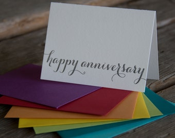 happy anniversary letterpress cards, in orange or charcoal letterpress printed card. Eco friendly