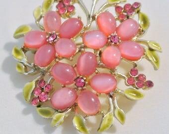 Vintage Pink Moon Glow And Rhinestones Brooch Pin