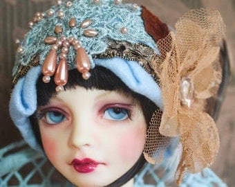 "Twenties Style ""Blue Dream"" Felt Cloche Hat For Ball Jointed Dolls"