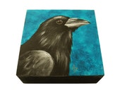Raven painting - corvid crow art block - black bird painting