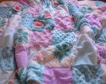 Sweet baby quilt, vintage chenille, fabric, minkee, baby blanket, aqua and lavender, nursery, crib quilt, baby shower, chenille bedspread