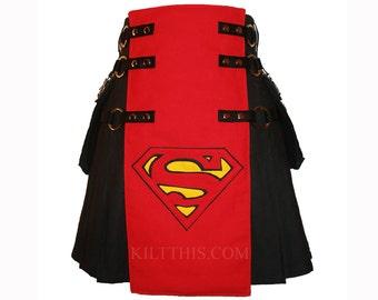 Interchangeable Superman Inspired Black Canvas Utility Kilt Red Apron Custom Fit Adjustable Cargo Pockets Many Options
