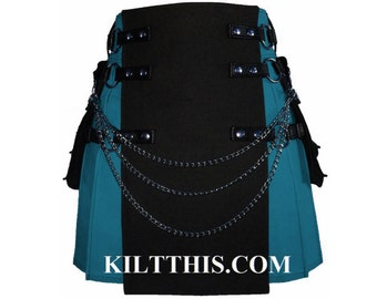 Interchangeable Turquoise Black Canvas Cargo Utility Kilt Custom Fit Adjustable Many Options