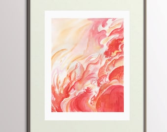 Abstract Painting PRINTABLE Abstract Watercolor Painting - Print Your Own Modern Art - Water Color Pink and Red Painting, Wall Art Painting