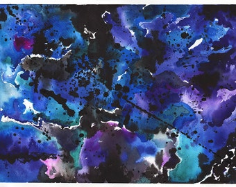 Abstract Painting PRINTABLE Watercolor Digital Download - Print your own art - Purple Abstract Watercolor - Modern Art Expressionism