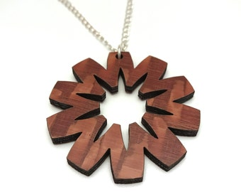Lacewood Starburst Necklace, Laser Cut Necklace, Silver Chain