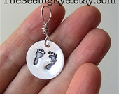 Fine Silver Pro Life Necklace Charm, Precious Feet, Baby Footprints, Right to Life Jewelry