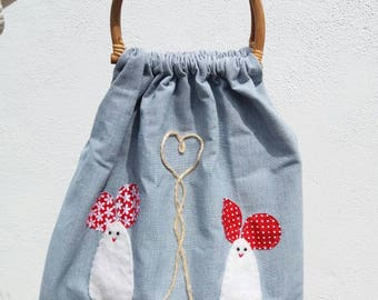 Bamboo Handled Shopper Style Tote bag with Love Mice