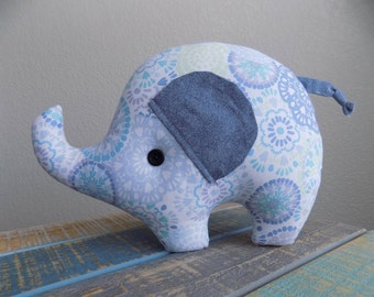 Elephant stuffed animal, elephant toy in blue swirl, stuffed toy elephant, gift for children, gift for elephant collector, gender neutral