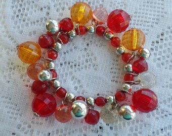 SALE  Vintage Cha Cha Bracelet, Red, Amber and Silverplate Beads