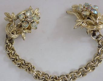 Vintage jewelry, 1950's retro AB crystal floral sweater guards, madmen jewelry