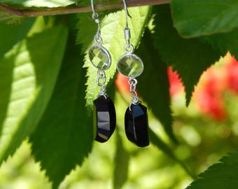 Unique Black Onyx Claw-Shaped Drop Earrings with Natural Lemon Topaz, Sterling Silver Earrings, One of a Kind, OOAK