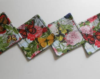"""Roses & Butterflies Coasters 4 3/4"""" by 4 3/4"""" Set Of Four"""